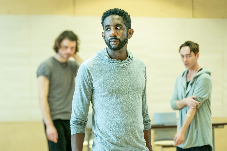 l-r Matthew Needham, Rhashan Stone & David Dawson in rehearsal for Fairview (c) Marc Brenner