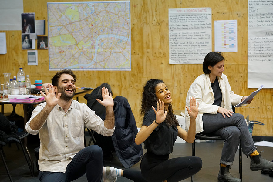 Arthur Wilson, Boadicea Ricketts and Sasha Milavic Davies in rehearsal for She Ventures and He Wins © Anthony Lee
