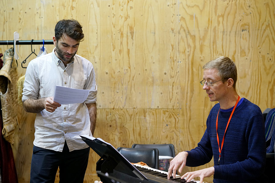 Arthur Wilson and Joseph Atkins in rehearsal for She Ventures and He Wins © Anthony Lee