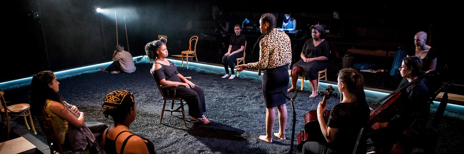 The cast of Taking Part's Parallel Yerma on stage in the Maria. Photo by Helen Murray.