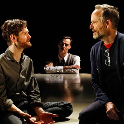 Kyle Soller, Paul Hilton and John Benjamin Hickey in The Inheritance. Photo by Simon Annand.