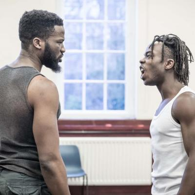 Jonathan Ajayi and Sope Dirisu in rehearsal for The Brothers Size. © Marc Brenner