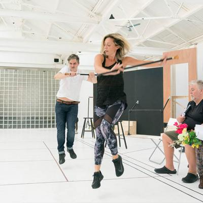 The cast in rehearsal for Twelfth Night with choreographer Lizzi Gee. Photo by Johan Persson
