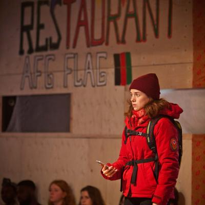 Rachel Redford (Beth) in The Jungle at the Young Vic © David Sandison