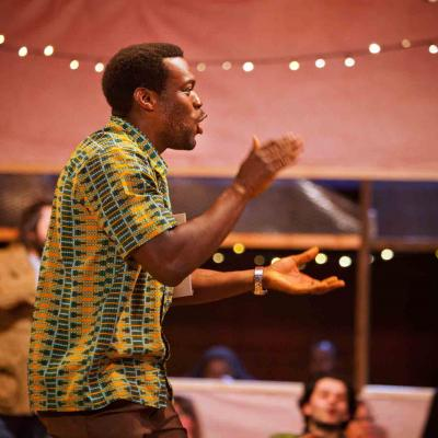 Ansu Kabia (Mohammed) in The Jungle at the Young Vic © David Sandison
