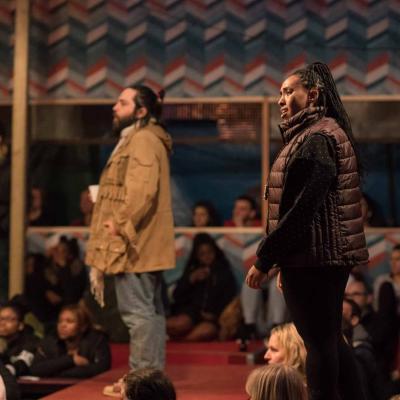 Ammar Haj Ahmad (Safi) and Nahel Tzegai (Helene) in The Jungle at the Young Vic © Leon Puplett