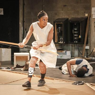 Image of Joan Iyola during rehearsals for Changing Destiny