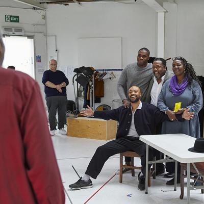 (l-r)Trevor Cooper,Arinzé Kene(sat), Martins Imhangbe, Wendell Pierce & Sharon D Clark