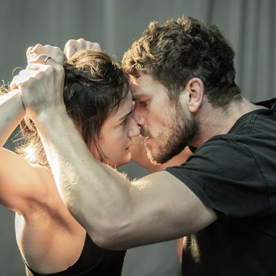 Aoife Duffin and David Walmsleyin rehearsals for Blood Wedding. Young Vic 2019. Photo by Marc Brenner.