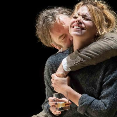 Brendan Cowell (John) and Billie Piper (Her) have a disturbing hug in Yerma at the Young Vic. Photo by Johan Persson