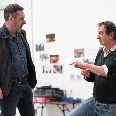 Paul Mason in rehearsal with director David Lan for Why It's Kicking Off Everywhere. Photo by Leon Puplett.