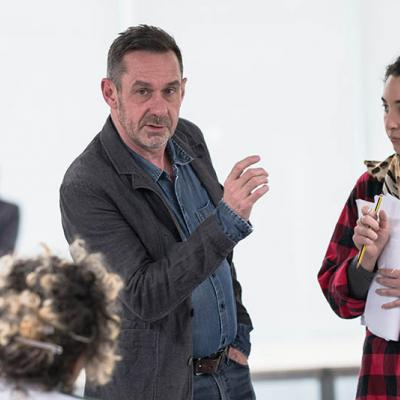 Paul Mason and Lara Sawalha in rehearsals for Why It's Kicking Off Everywhere. Photo by Leon Puplett.