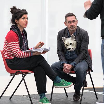 Sirine Saba and Paul Mason in rehearsals for Why It's Kicking Off Everywhere. Photo by Leon Puplett.