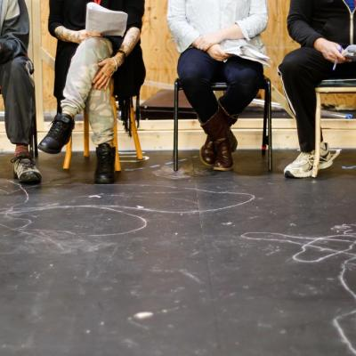 The company of See Me Now in rehearsals at the Young Vic. Photo by Leon Puplett.