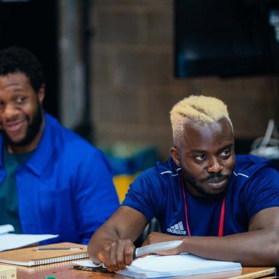 onathan Livingstone and Jonathan Ajayi rehearse Hamlet