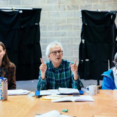Tara Fitzgerald, Director Greg Hersov and Leo Wringer rehearse Hamlet at Young Vic