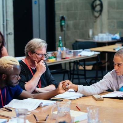 onathan Ajayi, Adrian Dunbar and Cush Jumbo rehearse Hamlet
