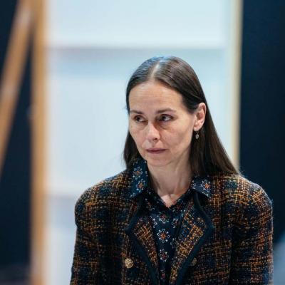Tara Fitzgerald rehearses Hamlet at Young Vic