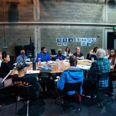 The Company rehearse Hamlet Young Vic