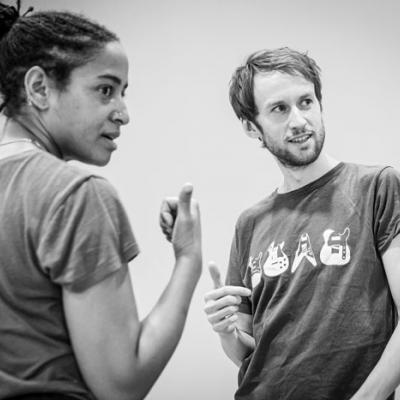 Amaka Okafor and Mark Arends in Nora: A Doll's House in rehearsal (c) Marc Brenner