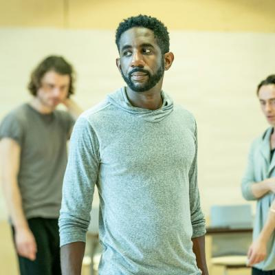 l-r Matthew Needham, Rhashan Stone & David Dawson in rehearsal for Fairview © Marc Brenner