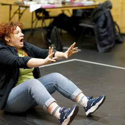 Lucy Jane Parkinson in rehearsal for She Ventures and He Wins © Anthony Lee