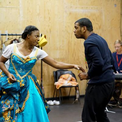 Elexi Walker and Caleb Roberts in rehearsal for She Ventures and He Wins © Anthony Lee