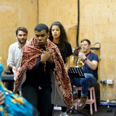 (l-r) Arthur Wilson, Caleb Roberts, Boadicea  in rehearsal for She Ventures and He Wins © Anthony Lee