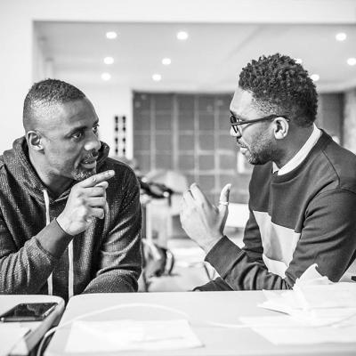 Idris Elba and Kwame Kwei-Armah in workshops for Tree at the Young Vic. Photo by Marc Brenner.