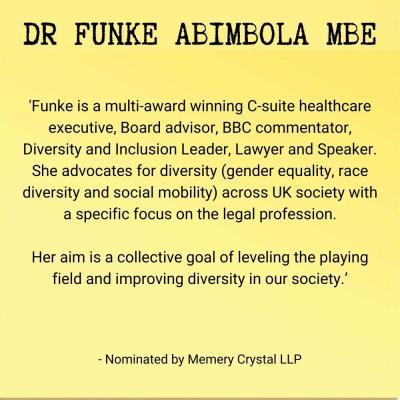 Dr Funke Abimbola MBE