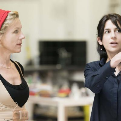 Juliet Stevenson and Natalie Abrahami in rehearsals for Wings at the Young Vic. Credit Johan Persson