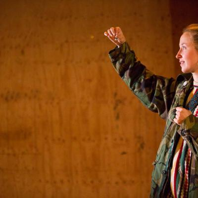Erin Doherty in My Name is Rachel Corrie. Photo by Ellie Kurrtz