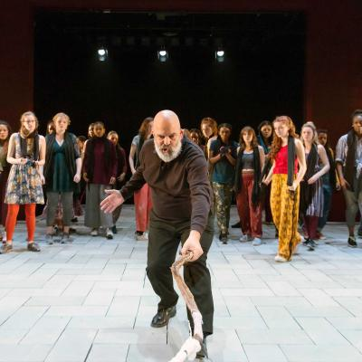 Omar Ebrahim in The Suppliant Women at the Young Vic. Photo by Stephen Cummiskey