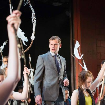 Oscar Batterham in The Suppliant Women at the Young Vic. Photo by Stephen Cummiskey