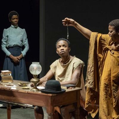 Letitia Wright, Rudolphe Mdlongwa and Pamela Nomvete in The Convert at the Young Vic. Photo by Marc Brenner.