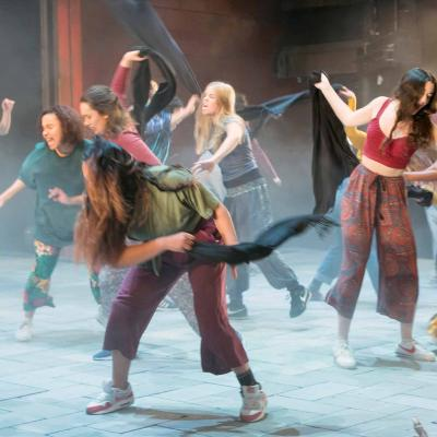 The company in The Suppliant Women at the Young Vic. Photo by Stephen Cummiskey