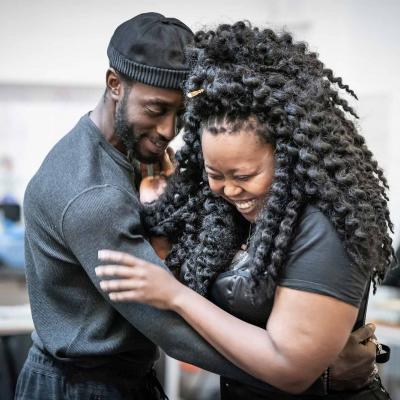 Ivanno Jeremiah and Luyanda Unati Lewis-Nyawo in rehearsal