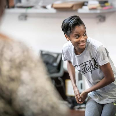 Letitia Wright in Rehearsal