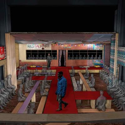An artists rendering of the view from the balcony looking down onto the stage