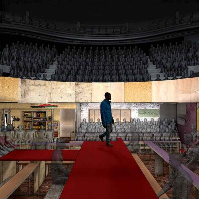 An artists rendering of the view from the set looking across the stage and up to the Balcony