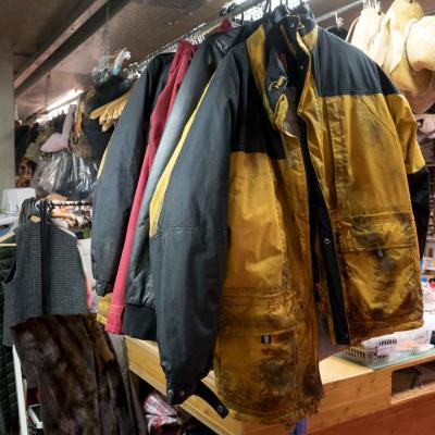 Jackets hanging up  for The Jungle in the YV Wardrobe department