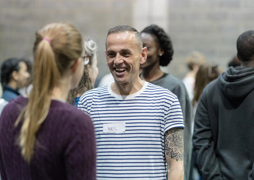 Neil at Young Vic Community Chorus Rehearsals. Photo by Leon Puplett.