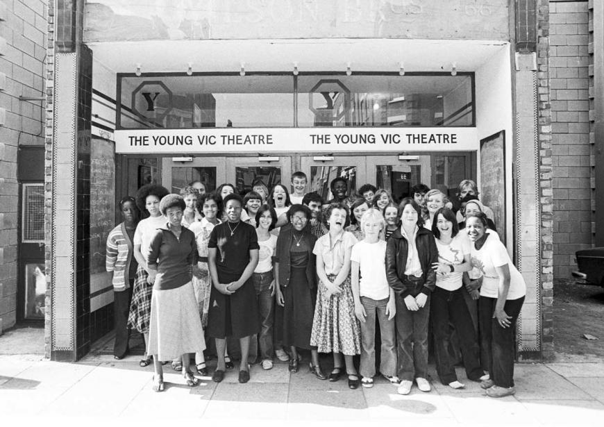 Members of the Young Vic Educational Services programme outside the theatre (1978)