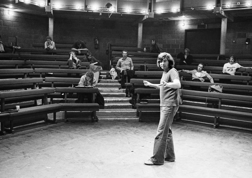 Director Michael Bogdanov rehearsing the Action Man Trilogy (Hamlet, Richard III and The Tempest) at the Young Vic in 1978