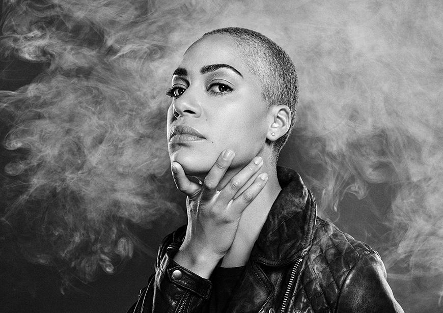 Cush Jumbo as Hamlet. Photo by Dean Chalkley. Concept by Emilie Chen.