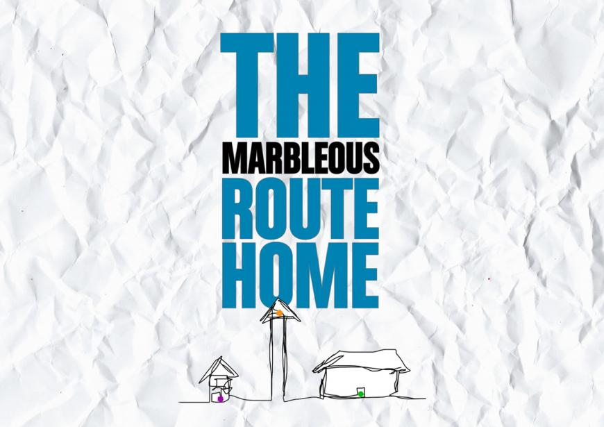 YV Taking Part's new production for SEND schools and young people, The Marbleous Route Home written in black and blue text superimposed over a crumpled piece of paper with a sketched drawing of three different shaped and sized houses
