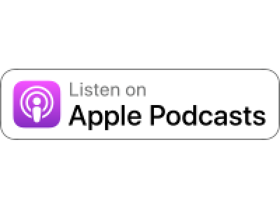 "White button stating ""Listen on Apple Podcasts"""