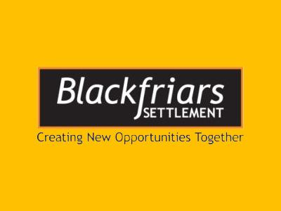 Black Blackfriars Settlement logo with white text in a black rectangle and tagline Creating New Opportunities Together