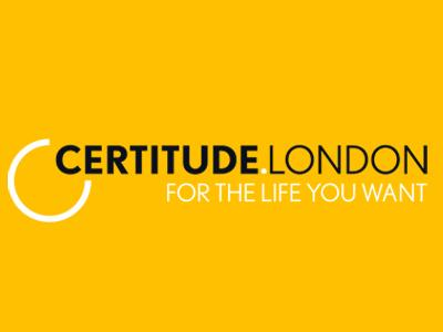 Certitude London logo Black text with a white semi circle and For the Life You Want tagline