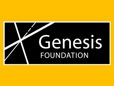 Genesis Foundation logo. White text on a black background with white hatching detailing.